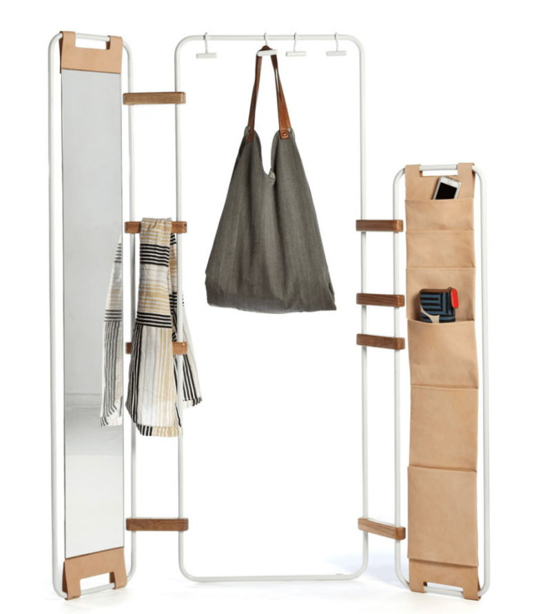 system of metal frames, wooden hinges and accessories as a rack and space divider