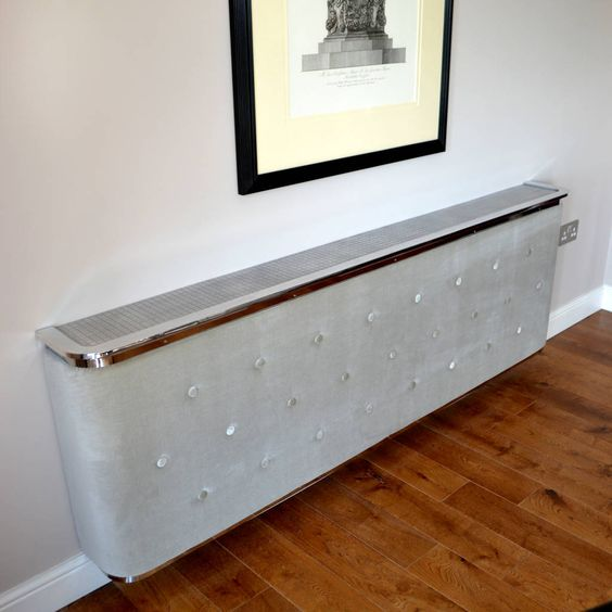 upholstered soft touch fabric radiator covers with cast aluminium detailing