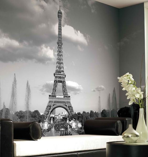 26 photo accent walls that will blow your mind digsdigs for Eiffel tower mural