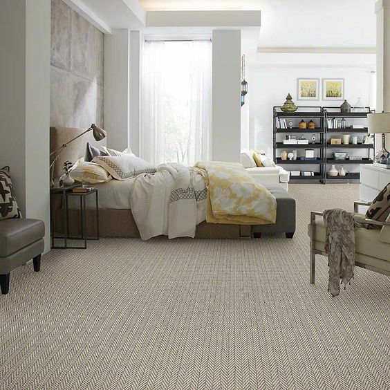 chevron-patterned carpet flooring to match the decor