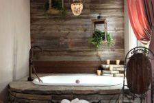 20 dark wood wall echoes with stone bathtub decor