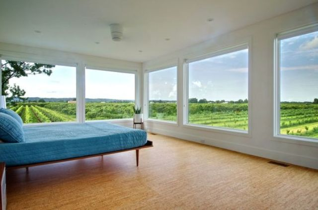 decorative cork flooring makes this bedroom feel like outside as it's all-natural