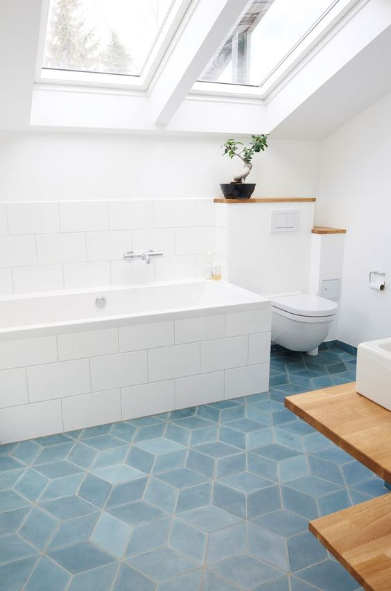 teal concrete diamond tiles to complete the bathroom look