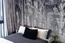 21 exquisite black and white mural to add chic to this simple bedroom