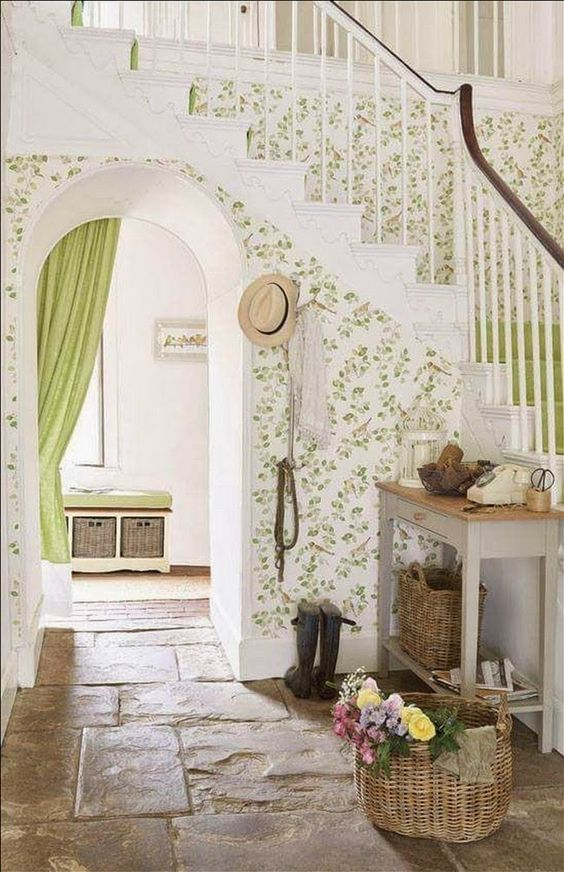 rustic worn stone floors for a cottage entryway