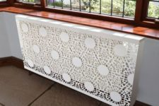 21 white lace radiator cover with a contemporary design