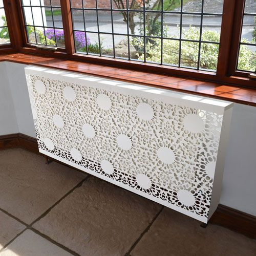 white lace radiator cover with a contemporary design