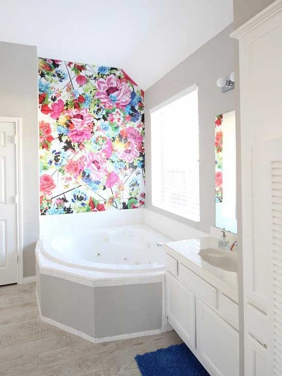 add color to your bathroom with this floral wallpaper