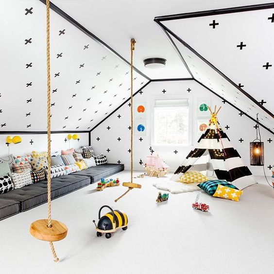 bold play space with a teepee and floor seatings