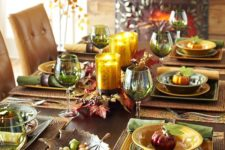 22 fall-colored tablescape in warm shades with faux pumpkins