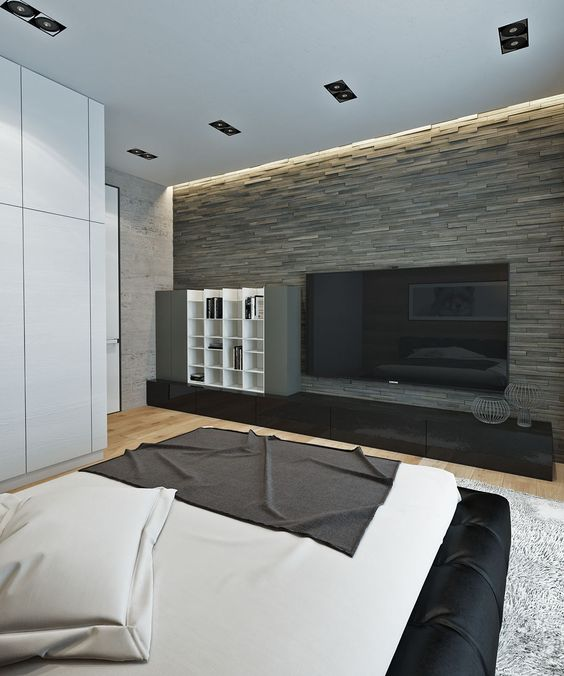 Faux Stone Accent Wall Adds Lots Of Elegance To This Minimalist Bedroom
