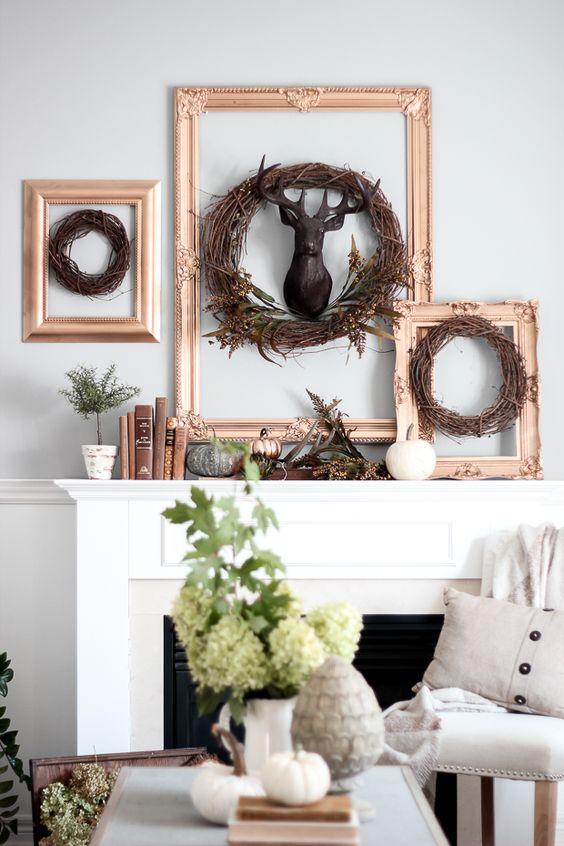 framed twig wreaths, a faux deer head, faux pumpkins