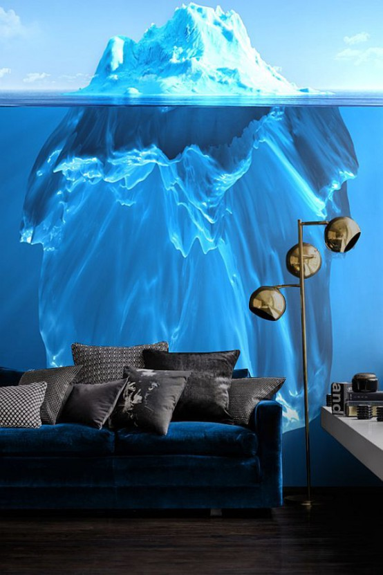 iceberg photo wall mural is an eye-catchy feature in this room