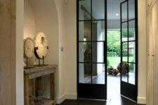 22 natural blue stone flore tiles, oak wood closet doors