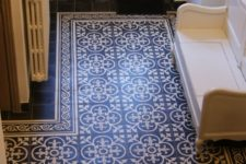 23 Portuguese tiles create an area rug look at the entryway