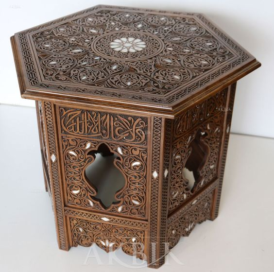 carved wood and mother of pearl nightstand