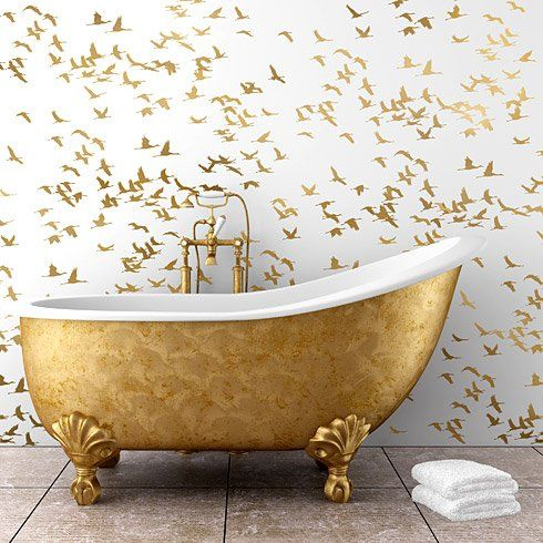 Gold Cranes Wallpaper Echo With A Free Standing Bathtub