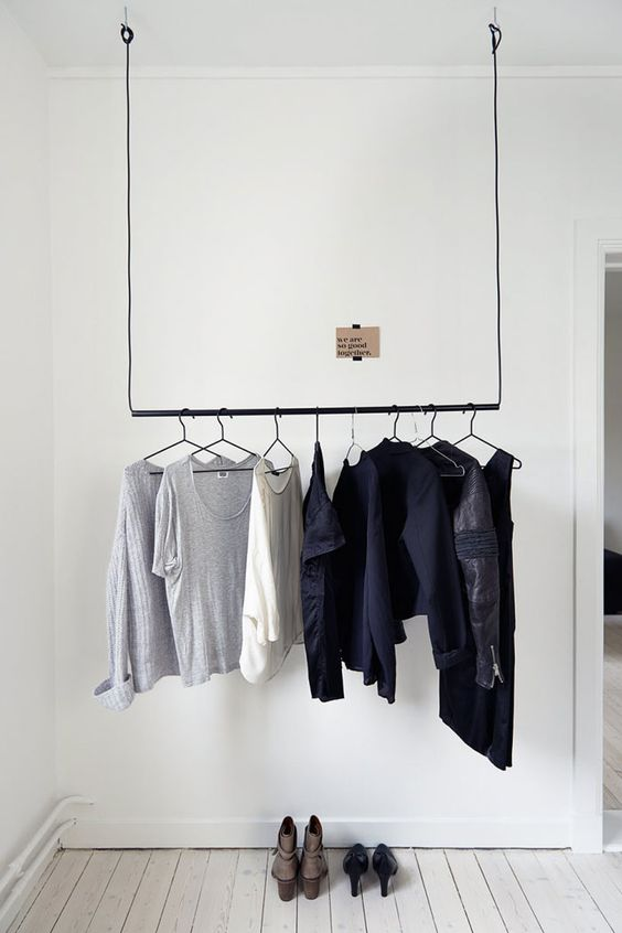 hanging clothing rack that can be removed if needed