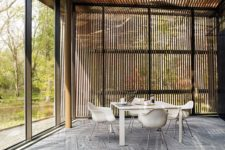 23 patterned carpet floors used for the open to outdoors dining area