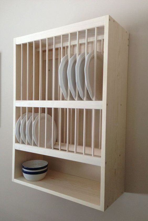 wall-mounted dish cabinet to save some kitchen space