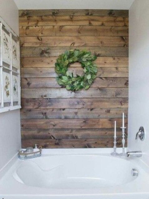 wooden planks to make a clean white bathroom more inviting