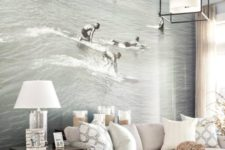 24 Newport beach photo mural adds an unexpected lively touch to this calm living room