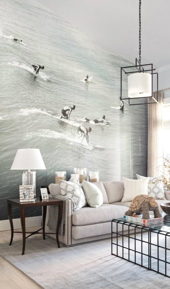 Newport beach photo mural adds an unexpected lively touch to this calm living room