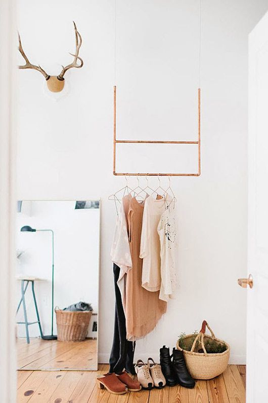 hanging copper clothes rack