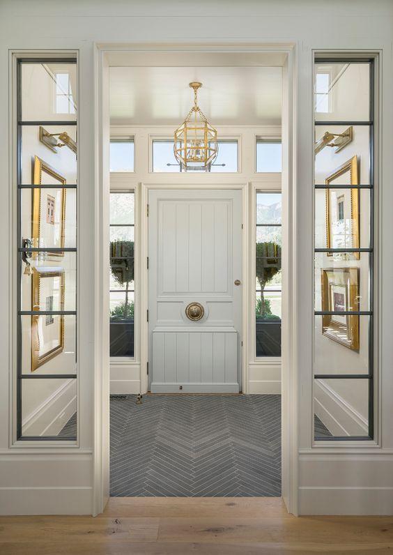 slate floor tile set in herringbone pattern is durable