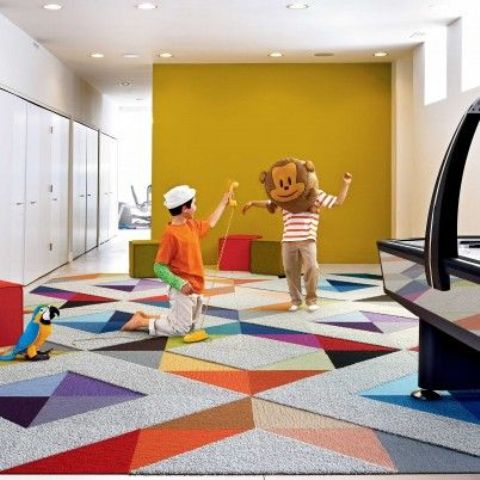 colorful carpet floors for a kids' playroom is the best idea