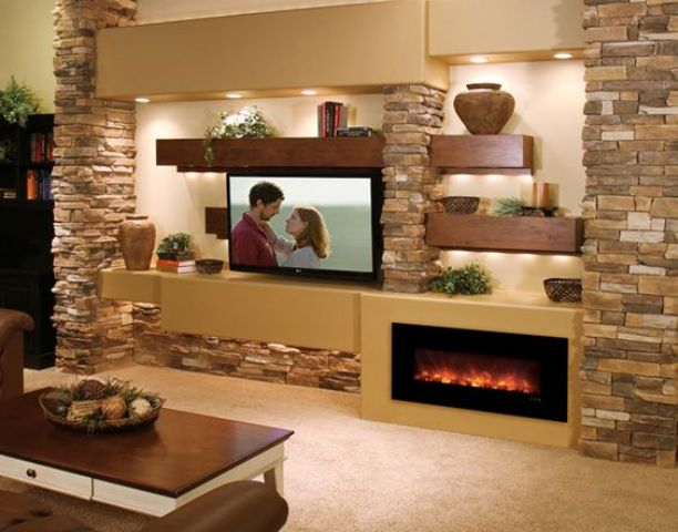 Perfect Fireplace And Media Wall Decorated With Stone Part 27