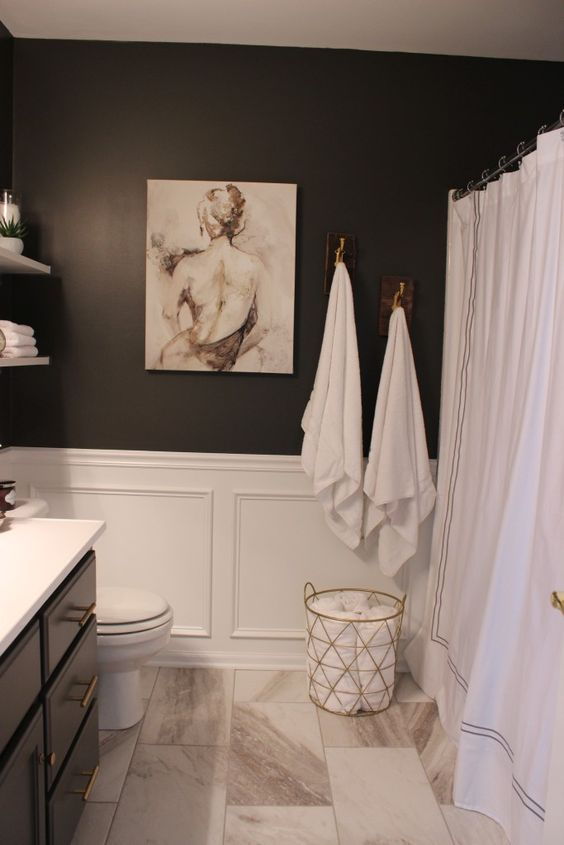 Attractive Marble Tiles, Black Walls And White Wainscoting For A Refined Bathroom