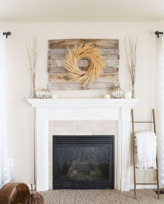 wheat wreath above the mantel