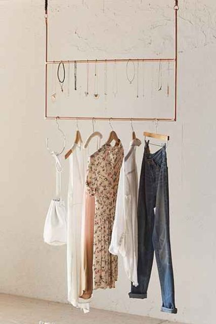 metal hanging ceiling clothing rack - Clothes Hanger Rack