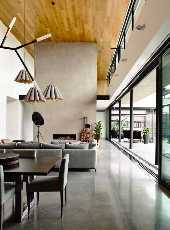 polished concrete floors for a large open plan living space