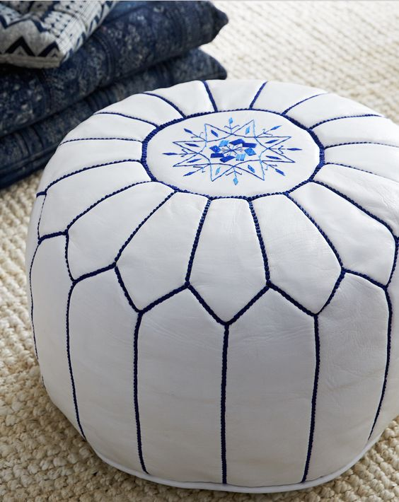 white and blue pouf