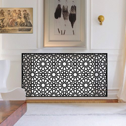 Persian-inspired metal radiator screen