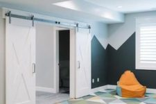 26 basement playroom with bold geometric carpet floors, which make falling not so hurt