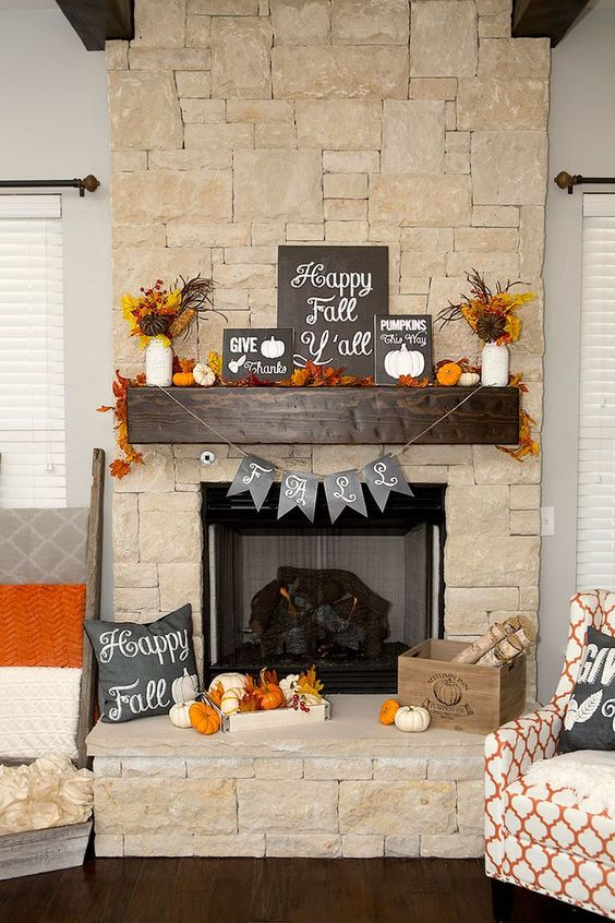 chalkboards, faux leaves and a bunting