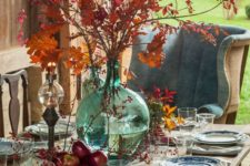 26 fall leaves, apples, berries for decor, chinoiserie