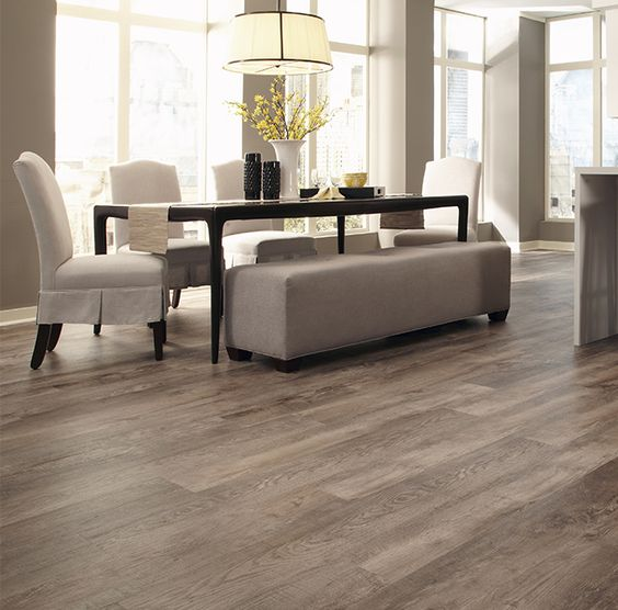 29 vinyl flooring ideas with pros and cons digsdigs for Dining room tile floor designs