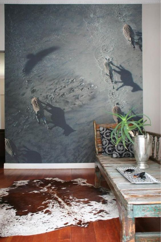 zebra wall mural creates an eye-catchy touch in your entryway