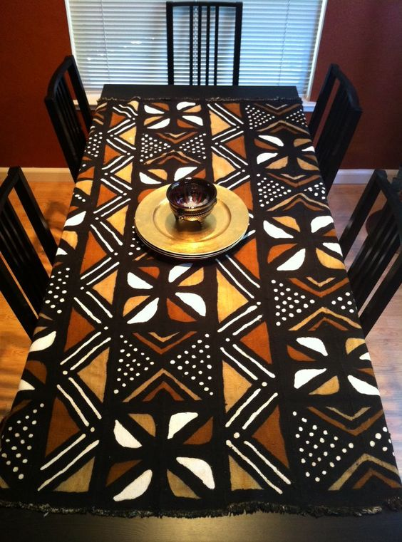 African mud cloth table cloth, handmade using an all-natural dying process in Mali