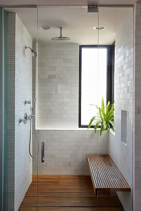 bamboo floors in the shower for a spa feel