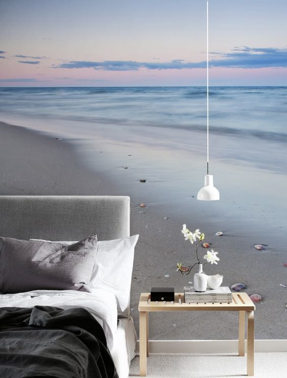 beach photo mural to give your bedroom a dreamy touch