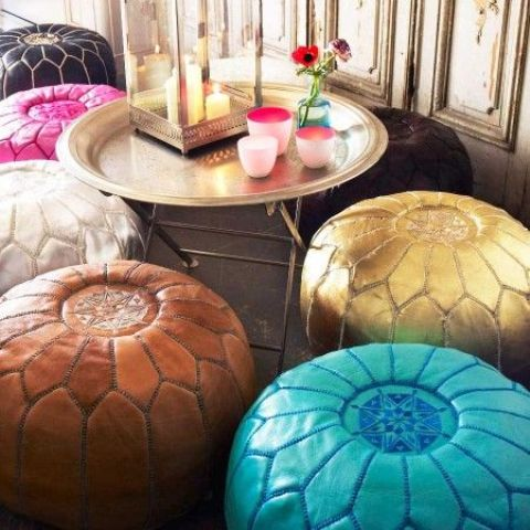 bold leather poufs
