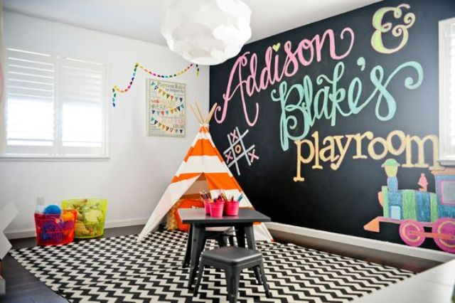 27 colorful play space with a chalkboard wall, a teepee and a desk