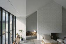 27 very light grey concrete for an all-white modern living room