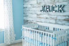 27 whitewashed barnwood wall with name lights