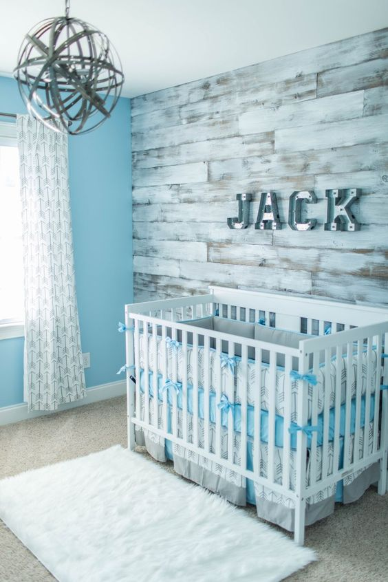 Gray And White Baby Boy Bedding
